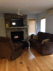 New reclining sofa and chair in the living room.