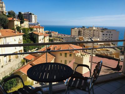 Photo for Monaco, sea view, bright studio with balcony
