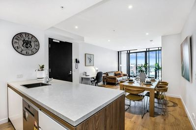 Full Size Kitchen with a Good City View