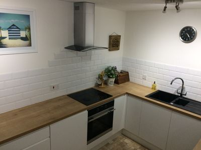 New kitchen, oven, hob, microwave, sink, kettle etc