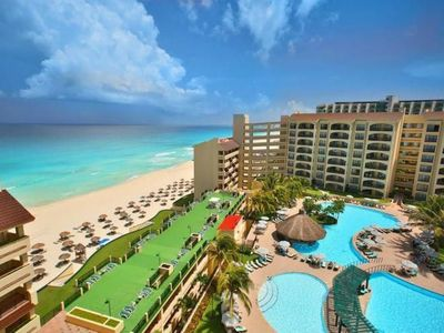 Photo for Amazing Cancun Ocean view 2 BR private club condo, sleeps 6
