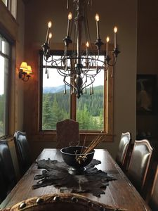 Dining Area- Large Rustic table fits 8 and 4 at bar