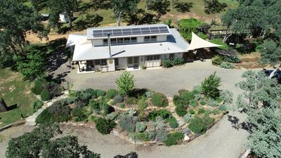 A bird's eye view of the Oak Meadows House property.