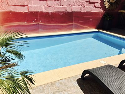 Private sunny pool with the measurements: Pool: 5.6m x 3.3m Depth: 1.3m to 1.8m