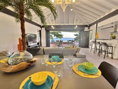 Photo for Villa 3 bedrooms, waterfront, pool, sunset, direct beach access