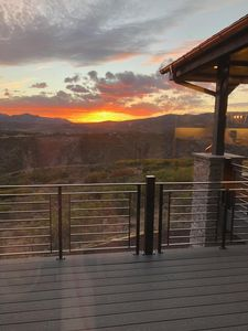 Sunset view from living room and deck