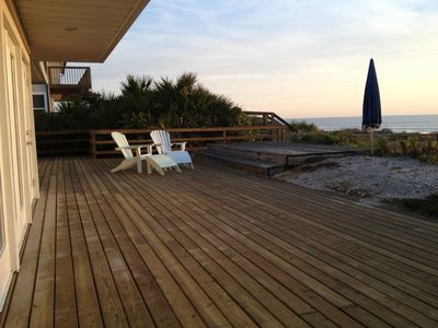 Large oceanfront deck with private walkway to beach.