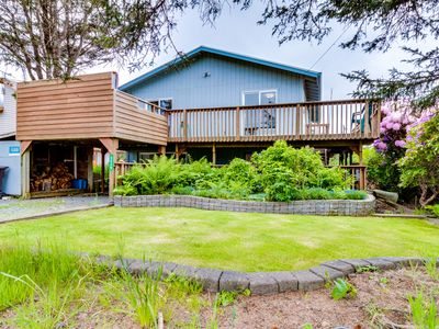 Photo for Dog-friendly, oceanview home w/ private hot tub - one block to beach!