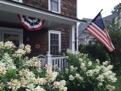 The cottage decorated for 4th of July