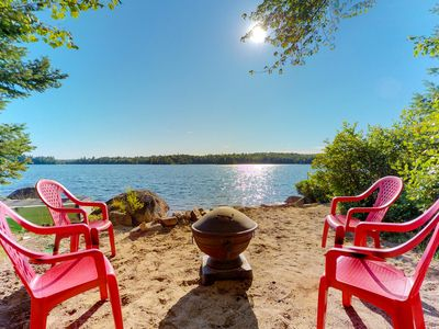 Photo for Quiet lakefront cottage w/ firepit, private beach & dog-friendly attitude