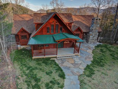 Photo for Large, Luxury Cabin Close to Asheville,Hot Tub,Outdoor Coverd porch w/ Fireplace