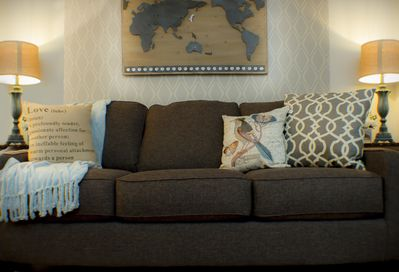 Sit down for a spell in our comfortable and substantial queen sleeper sofa