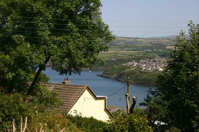 view from the terrace across the bay to Fishguard