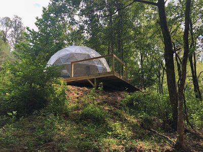 Photo for NEW: Glamping Geodesic Dome Tent - Trout Stream, Fire Pit & Privacy