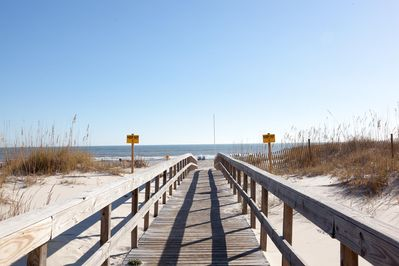 Boardwalk to the beach. We have a wonder wheeler for transporting gear.