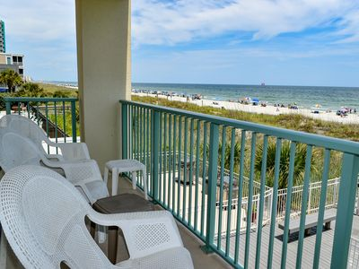 Photo for 3 NIGHT MIN. Crescent Beach. 3 bedroom, 2 bath oceanfront condo.  Sleeps 6.  Enclosed pool.  No pets.  No smoking.  Motorcycles allowed.