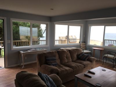 Ocean views from wall of windows in living rooms
