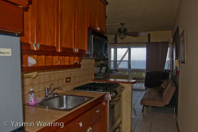 Your view while cooking breakfast. Fully stocked kitchen, professional gas stove
