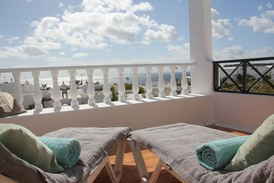 Views of the sea and Fuerteventura from the terrace.