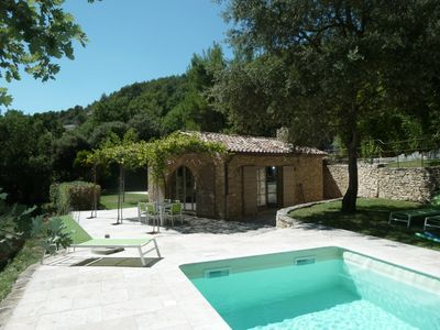 Photo for Charming and luxurious stone house, private pool, deckchairs, Wifi, Clim