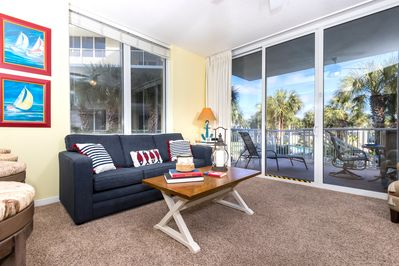Sunny, colorful unit with  nautical decor  and gorgeous views...