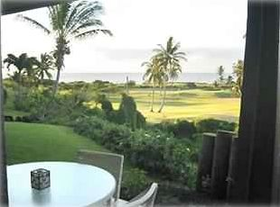 view from lanaii of golf course and ocean