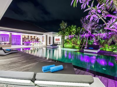 Photo for Modern villa 4 bedrooms SEMINYAK, sleeps 10, pool and lush garden