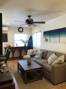Photo for Beach cottage with A/C, family & pet friendly, short walk to sand