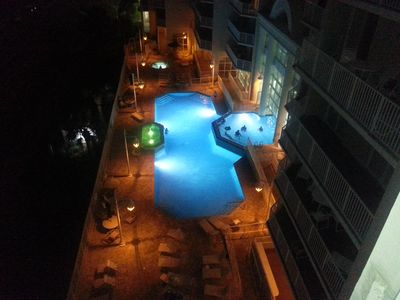 The swimming pool at night!