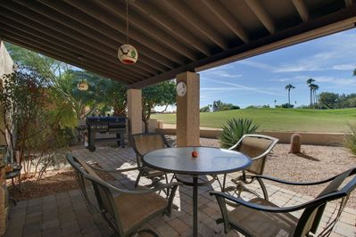 BBQ and have dinner on the outside covered patio while enjoying the amazing views of the golf course