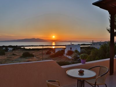 Photo for Venetian style villa with a majestic sunset and Aegean sea view. 200m from beach