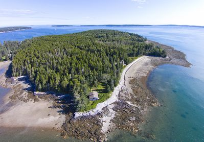 Aerial view of the family compound at low tide.