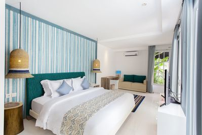 Bedroom with pool view