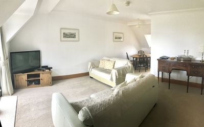 Sitting Room and Dining Area with Sea Views including from Dining Area. Balcony.