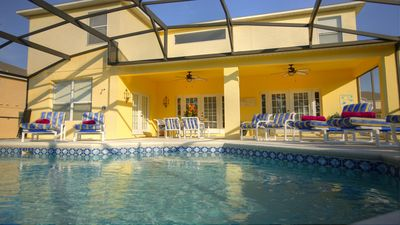 Photo for Lake Views, South Facing Pool, minutes to Disney, Sleeps 20, 3 KING Master Bdrm