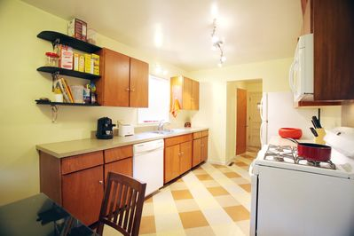Kitchen has all the appliances and the basic food preparation items.