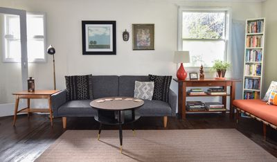 Spacious Living Room -gray couch sleeps one