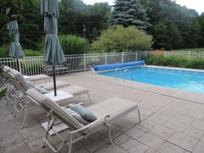 Photo for pocono mtns MOUNTAIN TOP COTTAGE Mountain views, 17 acres, private heated pool