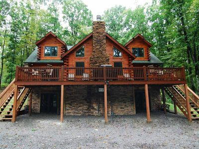 Photo for Log Heaven- Lake Area Home w/ Outdoor Fire Pit & Tranquil Woods