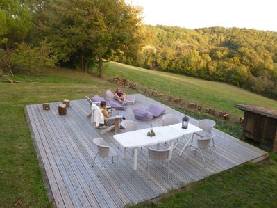 A big terrace with open views of the rolling hills of Gascony & the Pyrenees.