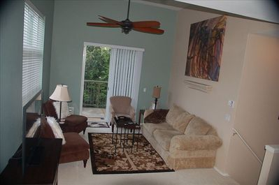 Livingroom with patio - second floor - 46' TV with DVD player and a few movies
