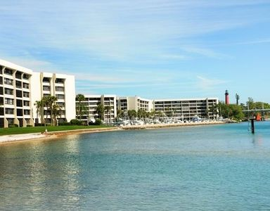 Condos and marina view from intercoastal. Top floor, middle building, corner