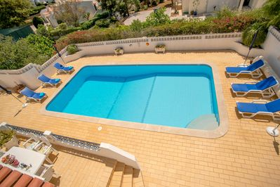 View of pool from roof terrace.