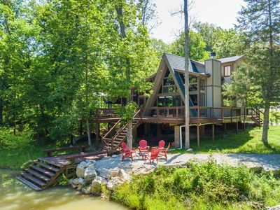 Photo for Family-Friendly Chalet on Private Lake with Two King Beds!