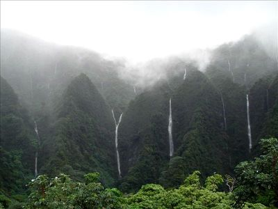 Rain brings majestic waterfalls! This great view is from your bedroom & lanai.