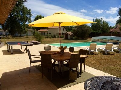 The patio, pool and ping pong!