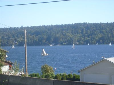 View from Living Room in House. Puget Sound Water Traffic!!!!