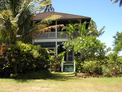 Photo for BEACHFRONT Historical Hanalei Bay Home Non-Commissionable