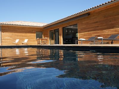 Photo for Contemporary Wood Villa - Pool - Parentis near Biscarrosse, 7-8 p.