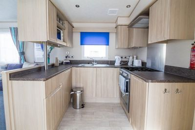 Modern and Stylish kitchen in this static home at the Seashore Holiday Park